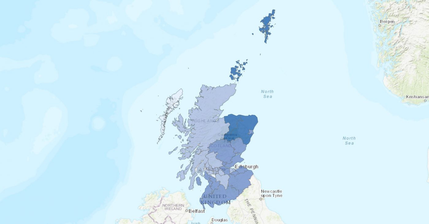 Cairt o Scotland shawin the airts whaur Scots is spoken. Steidit on 2011 census wittins