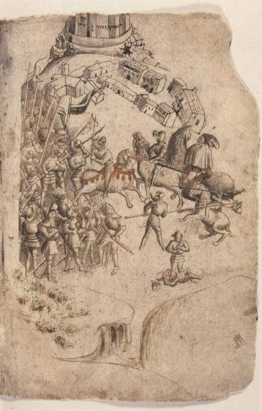 The earliest-kent depiction o the Battle o Bannockburn, fae a 1440s paper o Walter Bower's Scotichronicon.