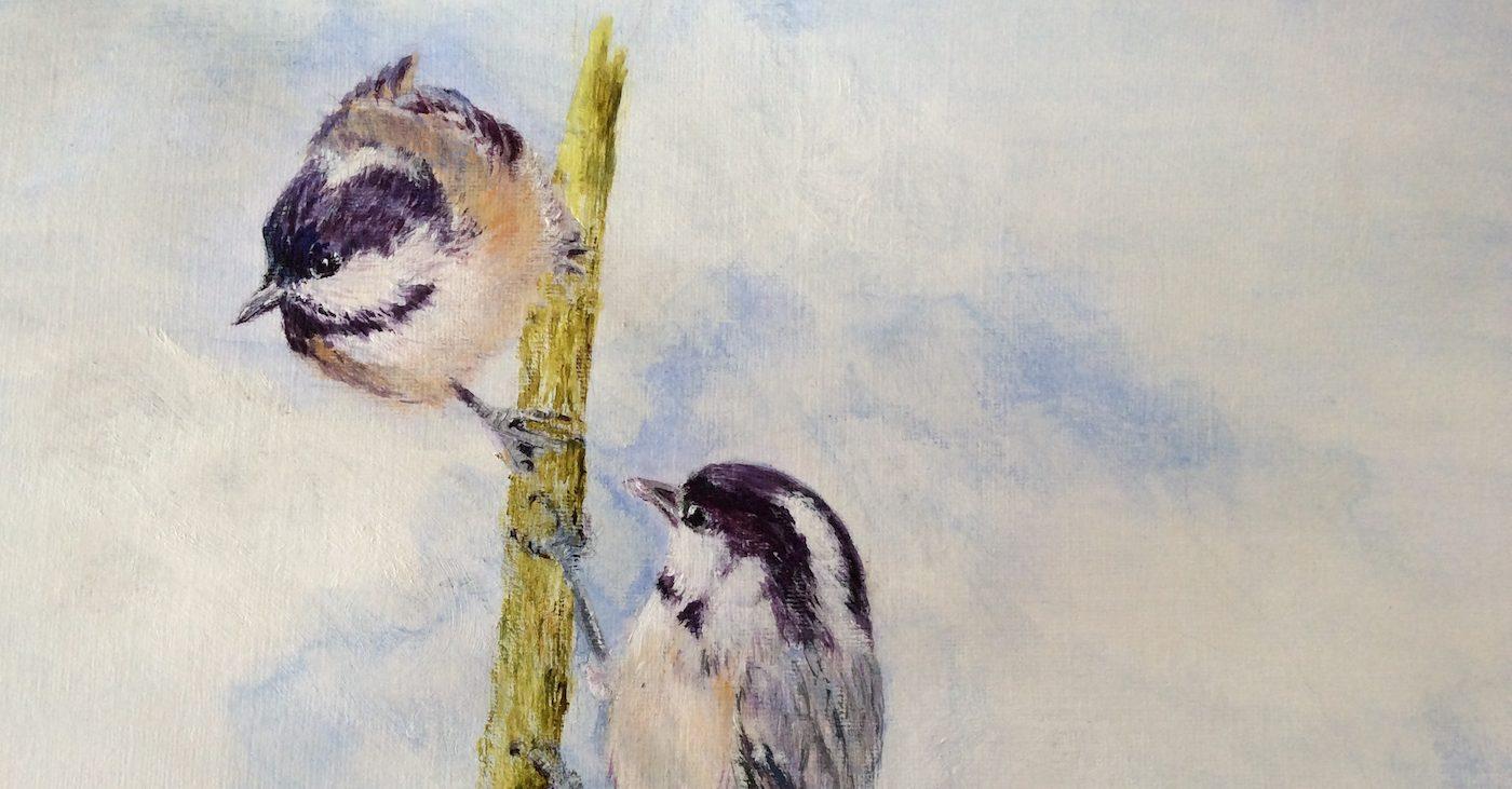 Pentin o twa birds grippin ontae a branch (by Elizabeth Thoumire)